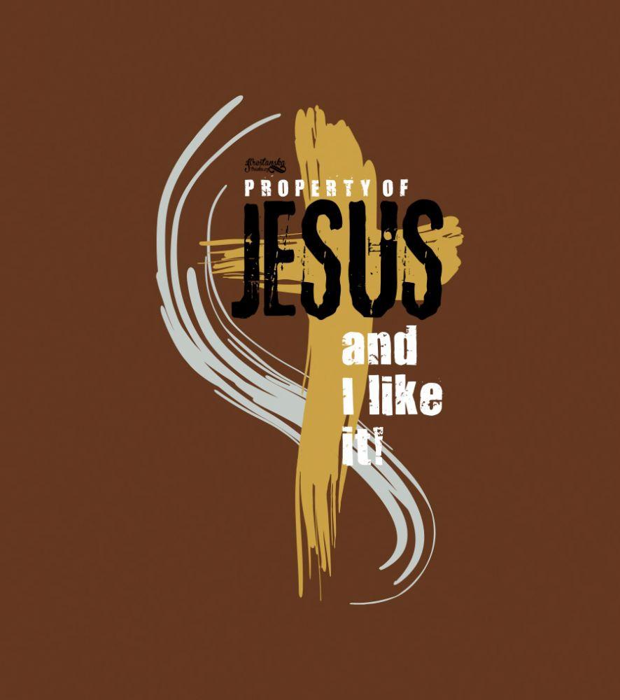 PROPERTY OF JESUS pánské triko DLOUHÝ RUKÁV hnědá