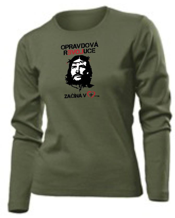 OPRAVDOVÁ REVOLUCE dámské triko khaki dlouhý rukáv