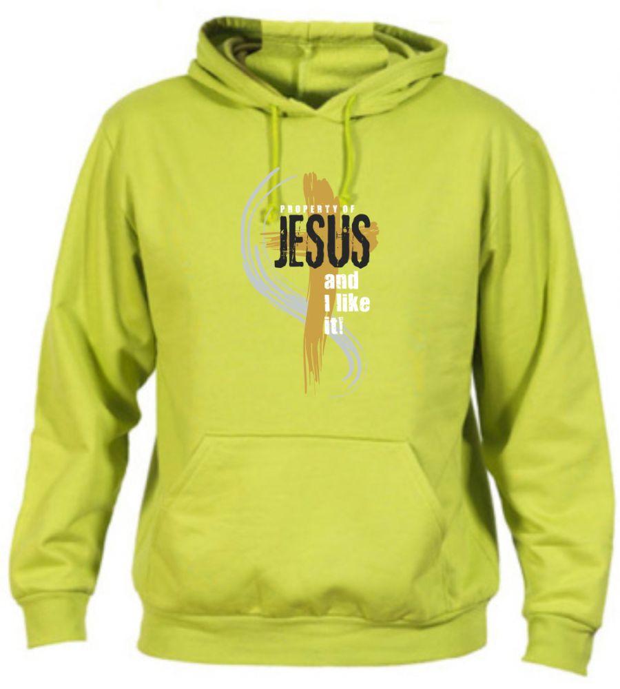 PROPERTY OF JESUS pánská mikina zelená (pistácie)