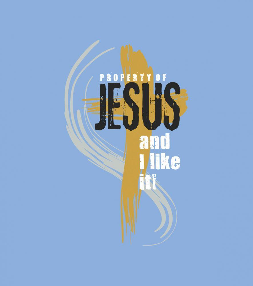 PROPERTY OF JESUS womens hoodie (sky blue)