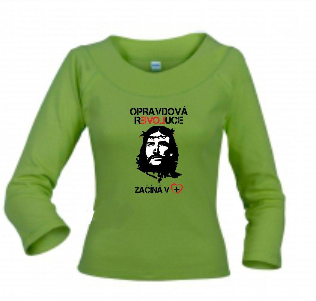 OPRAVDOVÁ REVOLUCE dámské triko zelené 3/4 rukáv
